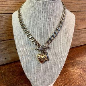 Juicy Couture Puff Heart Toggle Necklace in Gold